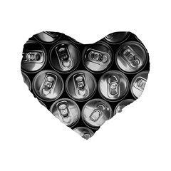 Black And White Doses Cans Fuzzy Drinks Standard 16  Premium Heart Shape Cushions
