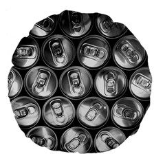 Black And White Doses Cans Fuzzy Drinks Large 18  Premium Flano Round Cushions