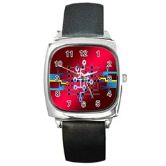 Board Circuits Trace Control Center Square Metal Watch