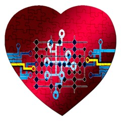 Board Circuits Trace Control Center Jigsaw Puzzle (Heart)