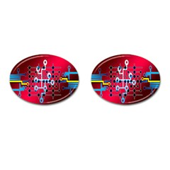 Board Circuits Trace Control Center Cufflinks (Oval)