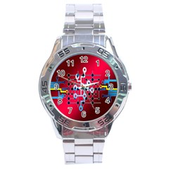 Board Circuits Trace Control Center Stainless Steel Analogue Watch