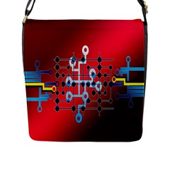 Board Circuits Trace Control Center Flap Messenger Bag (L)