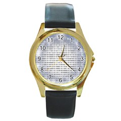 Binary Computer Technology Code Round Gold Metal Watch