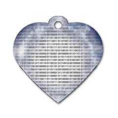Binary Computer Technology Code Dog Tag Heart (Two Sides)