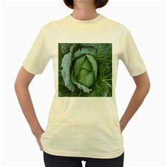 Bright Cabbage Color Dew Flora Women s Yellow T-Shirt