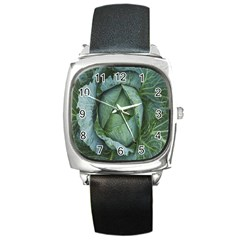 Bright Cabbage Color Dew Flora Square Metal Watch
