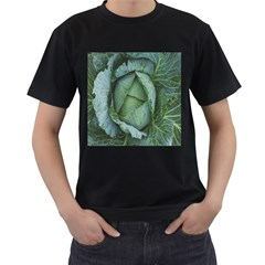 Bright Cabbage Color Dew Flora Men s T-Shirt (Black) (Two Sided)