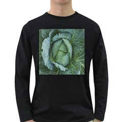 Bright Cabbage Color Dew Flora Long Sleeve Dark T-Shirts