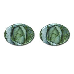 Bright Cabbage Color Dew Flora Cufflinks (Oval)