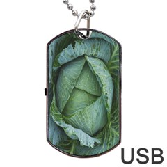 Bright Cabbage Color Dew Flora Dog Tag USB Flash (One Side)