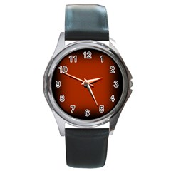 Brown Gradient Frame Round Metal Watch