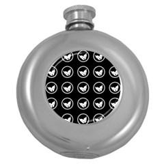 Butterfly Wallpaper Background Round Hip Flask (5 oz)