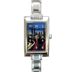 Building And Red And Yellow Light Road Time Lapse Rectangle Italian Charm Watch
