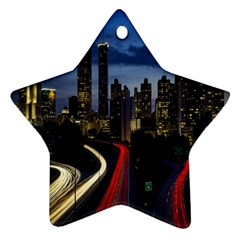 Building And Red And Yellow Light Road Time Lapse Ornament (Star)