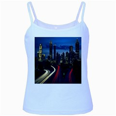 Building And Red And Yellow Light Road Time Lapse Baby Blue Spaghetti Tank