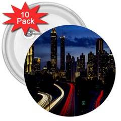 Building And Red And Yellow Light Road Time Lapse 3  Buttons (10 pack)