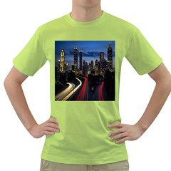 Building And Red And Yellow Light Road Time Lapse Green T-Shirt