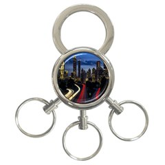 Building And Red And Yellow Light Road Time Lapse 3-Ring Key Chains