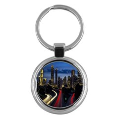 Building And Red And Yellow Light Road Time Lapse Key Chains (round)