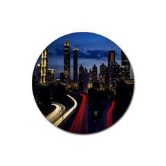 Building And Red And Yellow Light Road Time Lapse Rubber Round Coaster (4 pack)