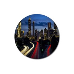 Building And Red And Yellow Light Road Time Lapse Magnet 3  (Round)