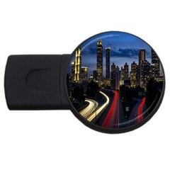 Building And Red And Yellow Light Road Time Lapse USB Flash Drive Round (1 GB)