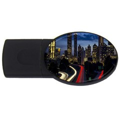 Building And Red And Yellow Light Road Time Lapse USB Flash Drive Oval (2 GB)