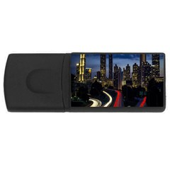 Building And Red And Yellow Light Road Time Lapse USB Flash Drive Rectangular (1 GB)