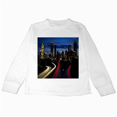 Building And Red And Yellow Light Road Time Lapse Kids Long Sleeve T-Shirts