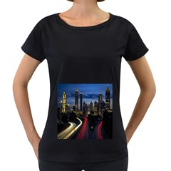 Building And Red And Yellow Light Road Time Lapse Women s Loose-Fit T-Shirt (Black)