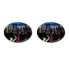 Building And Red And Yellow Light Road Time Lapse Cufflinks (Oval)