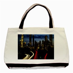 Building And Red And Yellow Light Road Time Lapse Basic Tote Bag