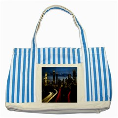 Building And Red And Yellow Light Road Time Lapse Striped Blue Tote Bag