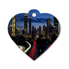 Building And Red And Yellow Light Road Time Lapse Dog Tag Heart (Two Sides)