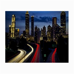 Building And Red And Yellow Light Road Time Lapse Small Glasses Cloth (2-Side)