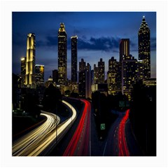 Building And Red And Yellow Light Road Time Lapse Medium Glasses Cloth (2-Side)