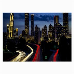Building And Red And Yellow Light Road Time Lapse Large Glasses Cloth (2-Side)