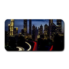 Building And Red And Yellow Light Road Time Lapse Medium Bar Mats