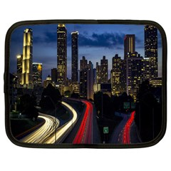 Building And Red And Yellow Light Road Time Lapse Netbook Case (large)