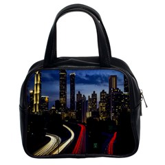 Building And Red And Yellow Light Road Time Lapse Classic Handbags (2 Sides)