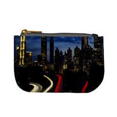 Building And Red And Yellow Light Road Time Lapse Mini Coin Purses