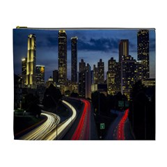 Building And Red And Yellow Light Road Time Lapse Cosmetic Bag (XL)