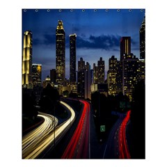 Building And Red And Yellow Light Road Time Lapse Shower Curtain 60  x 72  (Medium)