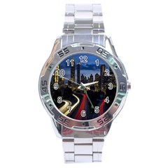 Building And Red And Yellow Light Road Time Lapse Stainless Steel Analogue Watch
