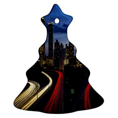 Building And Red And Yellow Light Road Time Lapse Ornament (Christmas Tree)