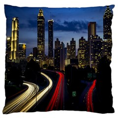 Building And Red And Yellow Light Road Time Lapse Large Cushion Case (Two Sides)