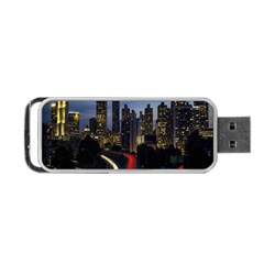 Building And Red And Yellow Light Road Time Lapse Portable USB Flash (One Side)