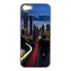 Building And Red And Yellow Light Road Time Lapse Apple iPhone 5 Case (Silver)