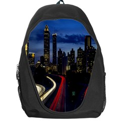 Building And Red And Yellow Light Road Time Lapse Backpack Bag